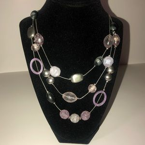 NY&Co Purple & Silver Layered Statement Necklace